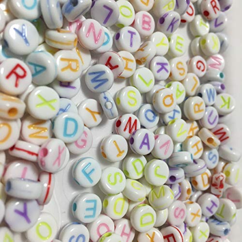 k2-accessories 500 PACK Mixed Alphabet Beads 7mm Colorful Round Acrylic Letter Beads for Bracelets Necklaces & Jewelry Making