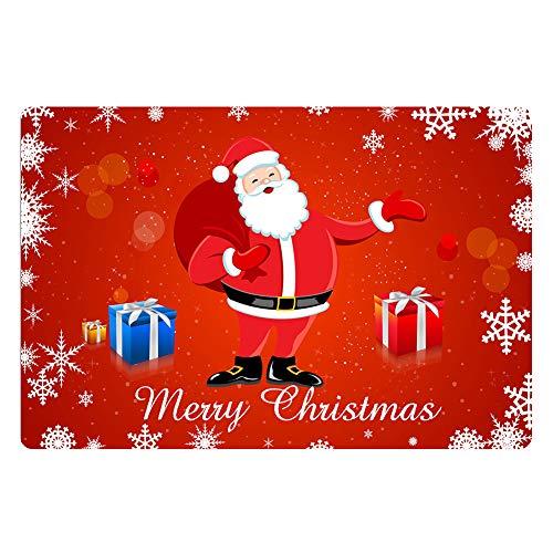 POLERO Decoración de Navidad de Color Rojo Brillante MatspCarton Santa Gift Snow Feliz Navidad Felpudo Respaldo de...