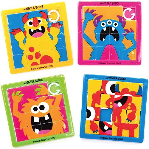AX269 Puzles Deslizantes Grupo De Monstruos   Paquete De 6, Para Bolsos De Fiesta Y Pequeños Juguetes Para Niños