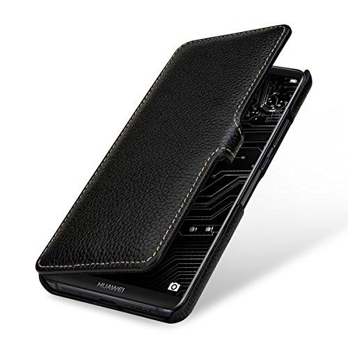 StilGut Book Type Hülle, Hülle Leder-Tasche für Huawei Mate 10 Pro. Seitlich klappbares Flip-Hülle aus Echtleder mit Clip für das Original Huawei Mate 10 Pro, Schwarz