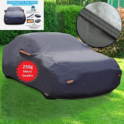 Telo COPRIAUTO Auto Copri Auto Felpato 6 strappi riflettenti - 250g Impermeabile con Doppia Cucitura (M - 430x165x117cm)