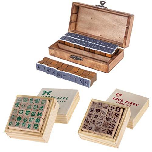 Oulensy Patrón de Estilo Retro 30pcs Alfabeto número Sello de Madera Conjunto de Bricolaje álbum de Recortes decoración de Tarjetas en Relieve Craft