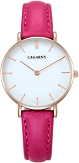Perfect Home 6872 Modern Simplicity Waterproof Round Dial Quartz Movement Alloy Gold Case Fashion Watch Quartz Watches with Leather Band Fashion (Color : Magenta)