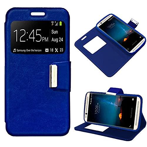 ZTE Axon 7 Mini, Cubierta de la Caja, Apertura Lateral Tipo de Libro, Cuero de la PU, Color Azul