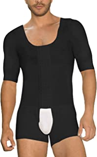 DANALA Men Full Body Shaper Tummy Control Shapewear Slimming Bodysuit Short Sleeve with Hooks Black 3XL
