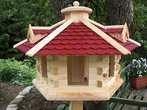 Vogelhaus Vogelhäuser (V36) Vogelfutterhaus Vogelhäuschen-aus Holz--Gaube Rot sehr Groß