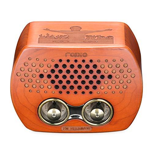 Qoosea Radio Retro Portátil Pequeña Radio Vintage de Madera con Altavoces Bluetooth Radio Clásica Radio FM, Tarjeta TF y Reproductor MP3