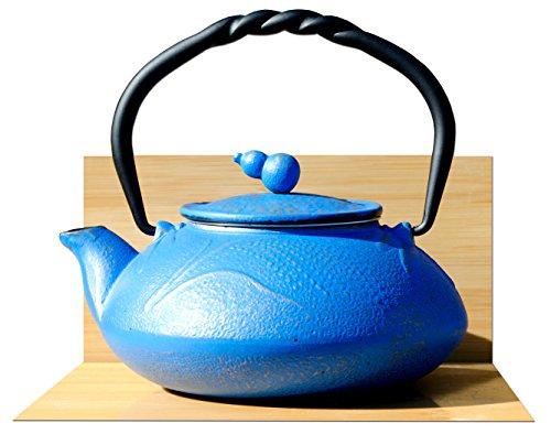 Teiera bollitore in ghisa da 0,55 l, color azzurro su oro, in stile giapponese Tetsubin , design prato estivo