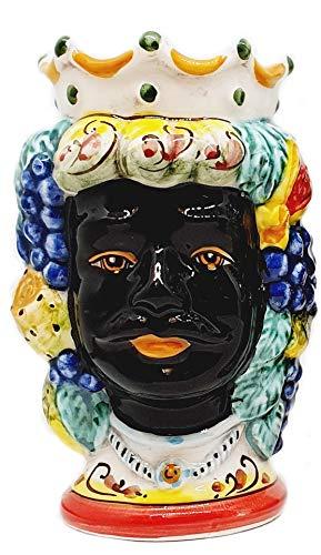 sicilia bedda - Teste di Moro Siciliane in Ceramica di Caltagirone - Realizzate e Decorate Interamente a Mano - Altezza 18 Centimetri (Testa di Moro Saraceno)