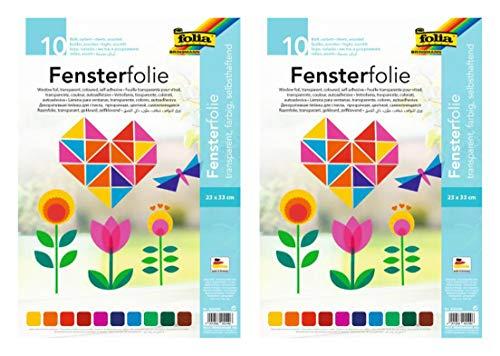 folia 455409 - Fensterfolie, selbsthaftend, transparent, farbig Sortiert, ca. 23 x 33cm, 10 Blatt - ideal zur Gestaltung von Fensterbildern (2)