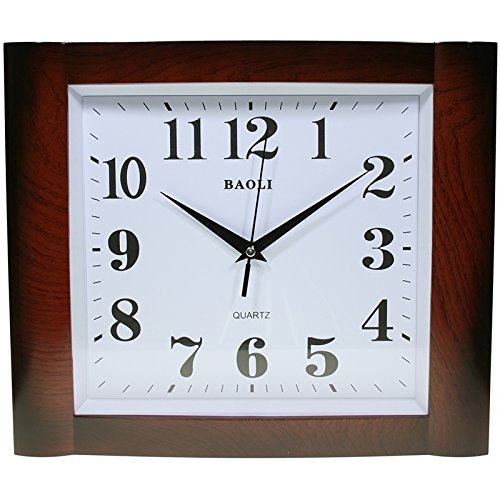 Reloj de pared analógico rectangular - Esfera blanca - Movimiento contínuo, no...