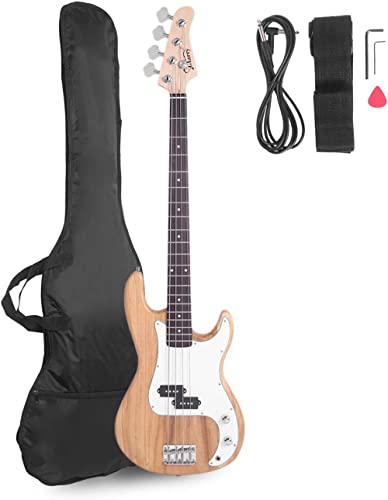 Glarry Electric Bass Guitar Full Size 4 String Rosewood Basswood Fire Style Exquisite Burning Bass(Burly Wood)