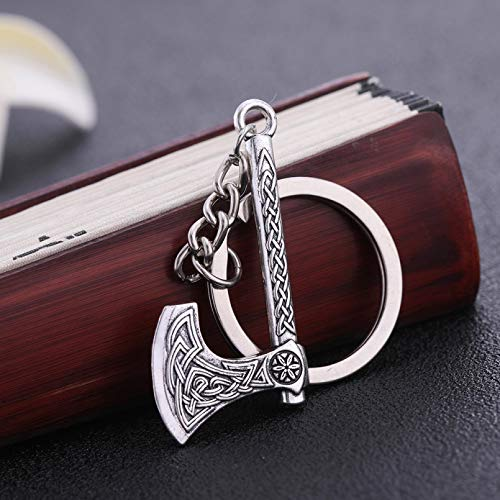MINTUAN Porte-clés Hache Gothique Viking Porte-clés enmétal Cadeau pour Homme Femme Bijoux