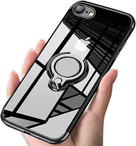 iPhone SE Hülle/ iPhone7 Hülle/ iPhone8 Hülle Soft Silikon Hülle Ultra Dünn TPU Bumper Case 360 Grad Ring Stand Magnetische Autohalterung Schutzhülle für Transparent Anti-Fingerabdruck Anti-Kratzer