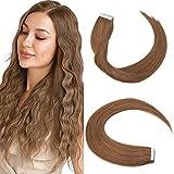 14'(35cm) Extensiones Adhesivas de Cabello Natural Pelo 100% Remy Invisble Tape in Hair Extensions 20 Unidades(40g,#6 Marrón Claro)
