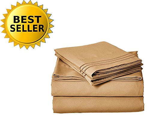 CELINE LINEN 1800 Series Egyptian Quality Super Soft Wrinkle Resistant & Fade Resistant Beautiful Design on Pillowcases 4-Piece Sheet Set, Deep Pocket Up to 16inch, California King Gold