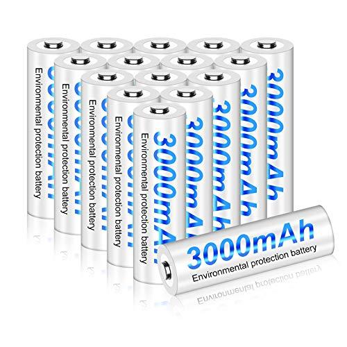 PALO Batterie ricaricabili ad alta capacità AA 3000mAh 16 batterie Ni-MH 1,2 V 1200 (4 valigette incluse)