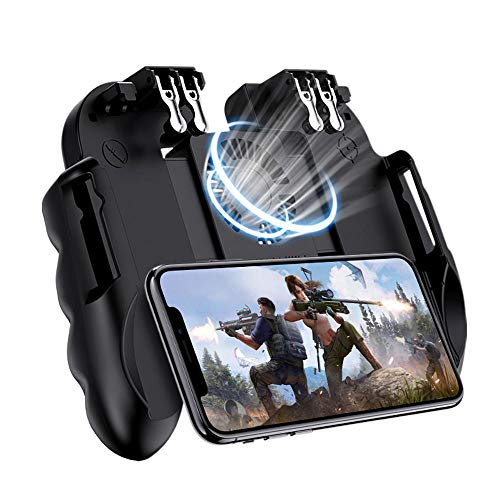 Mobile Game Controller with Silent Cooling Fan, 2019 New Upgrade H9 Wireless 6 Finger Operation Mobile Gaming Joystick for PUBG, Universal Gamepad Grip for 4.7-7 Inch Android iOS