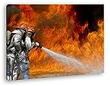 deyoli Camion de Pompier à Effet : Dessin sur Toile montée sur châssis en Bois véritable Impression numérique de Haute qualité avec Cadre et Pas de Poster, Toile, 120x80