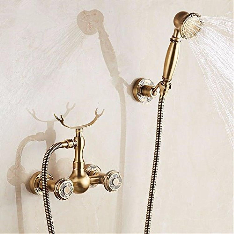 ETERNAL QUALITY Badezimmer Waschbecken Wasserhahn Messing Hahn Waschraum Mischer Mischbatterie Tippen Sie auf antik Messing-antike Badewanne Armatur Kit tippen Sie zweima