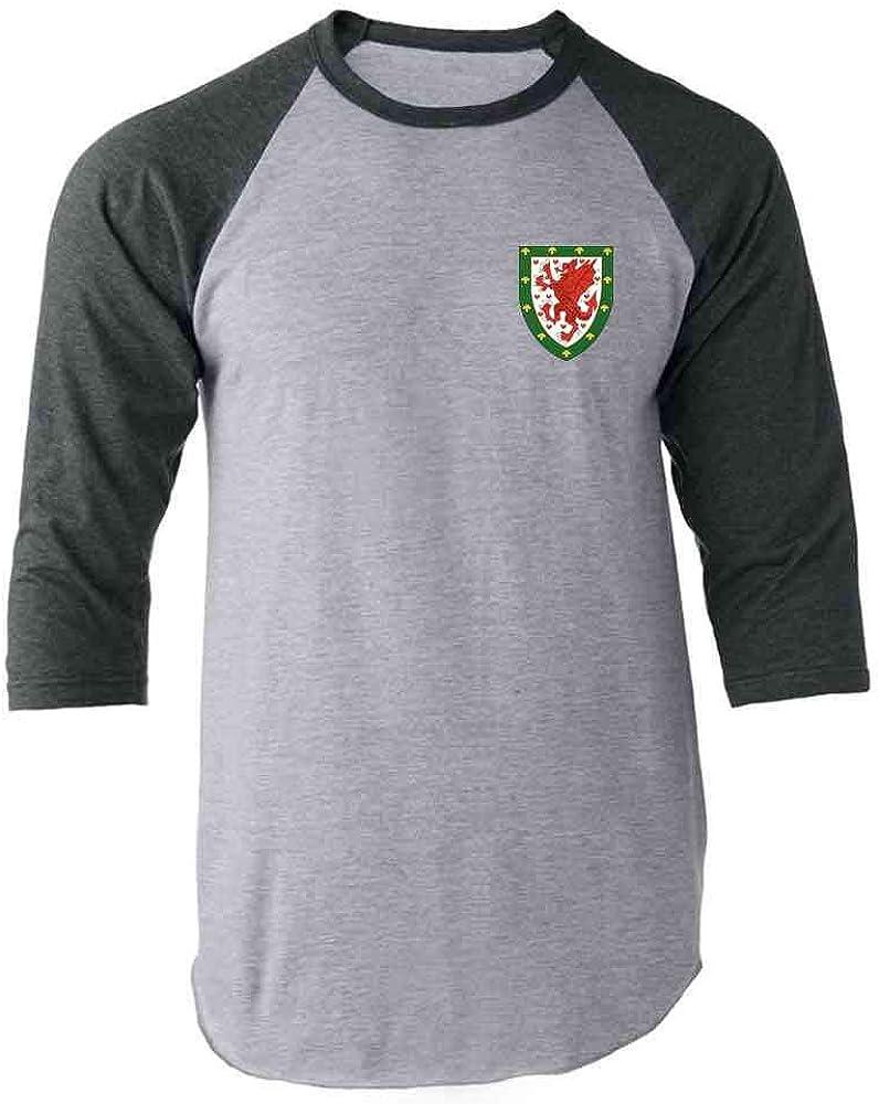Wales Soccer Retro National Team Raglan Baseball Tee Shirt