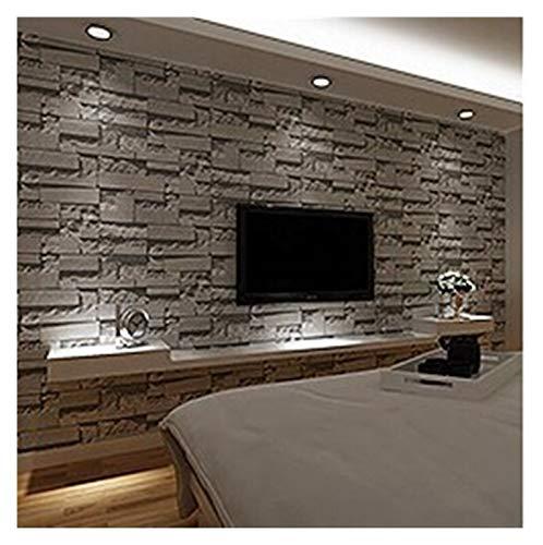 YanHui-LZC Hohe Qualität 3D Slate Stone Brick-Effekt waschbar Vinyl-PVC-Tapeten Wohnzimmer-Hintergrund-Tapete Tapete Schwarz, Grau für Küchenarbeitsplatte Schlafzimmer
