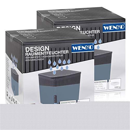 Wenko 50223100 Design Raumentfeuchter Cube 1000g - Blau (2er Pack)