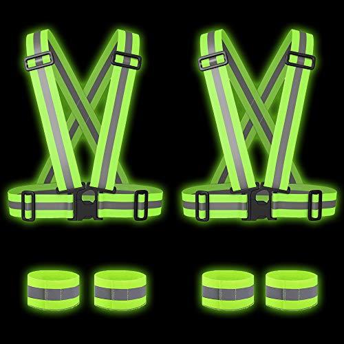 Bramble - 2 Reflektorweste & 4 Reflektorbänder - Hohe Sichtbarkeit für Laufen, Radfahren, Joggen, Motorrad.