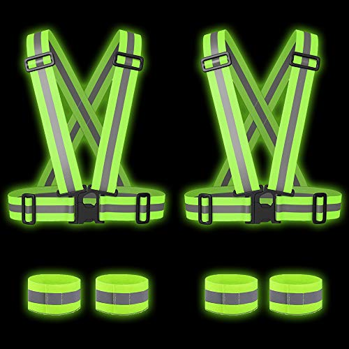 6er- Set Hoher Sichtbarkeit Warnweste Reflektorweste Ausrüstung -2 Reflektor Weste & 4 Reflektor Armbänder - Sicherheitsweste für Nacht Laufen Wandern Radsport Motorradfahren| Erwachsene Kinder