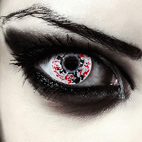 Designlenses, 2 weiße farbige Kontaktlinsen rot und schwarz gesprenkelt, ohne Stärke, für Halloween Horror Clown Kostüm Makeup, gratis Kontaktlinsenbehälter Model: Killer Clown
