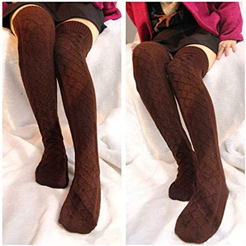 miwaimao Medias de invierno suaves para mujer, cable de punto por encima de la rodilla, botas largas, cálidas, altas, marrón, talla única