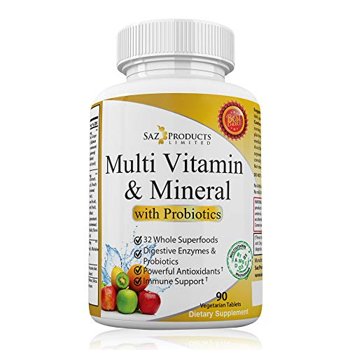 Whole Food MultiVitamin & Mineral Plus Probiotic Enzymes - Increased Energy, Combats Fatigue, Eliminates Brainfog & Easy on Digestion for Men & Women - Non-GMO - 90 Tablets