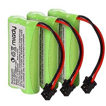 Miady 2.4V 2 AAA 900mAh Ni-MH Cordless Home Phone Battery for Uniden BT1008 BT-1008 BT1016 BT-1016 BT1021 BT-1021 WITH43-269 WX12077 Sanyo CAS-D6325 CASD6325 Lenmar CBBT1008 CB-BT1008  Pack of 3