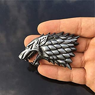 Car Stickers - Rhino Tuning Game of Thrones House Stark Direwolf Family Totem Metal Car Badge Emblem Sticker Fit Silverado...