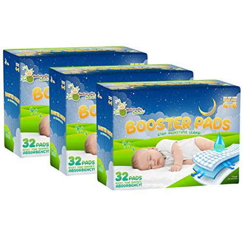 Naturally Nature Overnight Diaper Doubler Booster Pads with Adhesive (96 Count) for Pull-on & Regular Diapers | Nighttime Leak Protection for Heavy Wetters, Diaper Liners for Boys & Girls