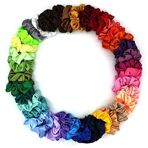 39 colores lindo satén seda coleteros elástico mujeres bandas para el pelo niñas cinta headwear diadema sedoso accesorios para el cabello