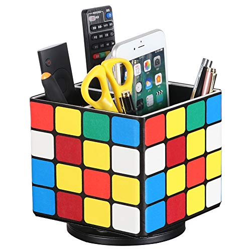 Leather Art Supply Organizer, Remote Control Holder, 360 Degree rotating TV Remote Caddy,Office Desktop Organizer for Controller, Media, Calculator, Mobile Phone,Paint Brushes and Color Pencil