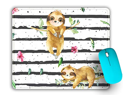 Mouse Pad with Precision Stitched Edge, Cute Sloth Animal Printed Pattern Mousepads, Premium-Textured Mouse Mat, Non-Slip Rubber Base Mousepad for Computers, Laptop, Gaming, Office & Home