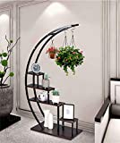 5 Tier Metal Plant Stand Creative Half Moon Shape Ladder Flower Pot Stand Rack for Home Patio Lawn Garden Balcony Holder Black