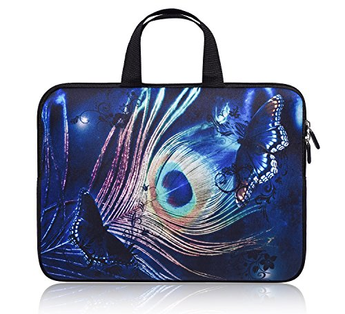 11-12.2 Inch Chromebook Carrying Laptop Bag Sleeve Case with Handle Compatible with Acer Chromebook R 11/Samsung Google 11.6' Chromebook/HP Chromebook 11/ASUS Chromebook C200MA(Blue Peacock Feather)