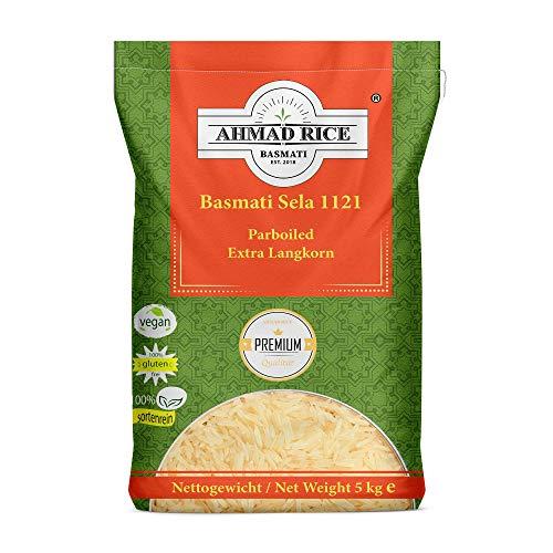 Basmati Reis AHMAD RICE vom Himalaya, Sorte: Basmati 1121 Sela Parboiled Extra Langkorn (8mm) in Premium Qualität 5 Kg