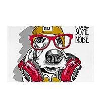 音楽 犬 ランチョンマット 食事マット 30*45 cm 食卓マット 家庭用 レストラン用 撥水加工 インテリア雑貨 北欧 飾り滑り止め 水洗い可能 手入れ簡単 テーブルマット