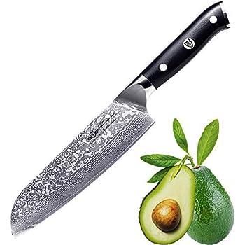 Kitchen Emperor Coltello Santoku Damasco, Coltelli da Chef, Professionali Acciaio da 67 Strati Damasco con Impugnatura G10