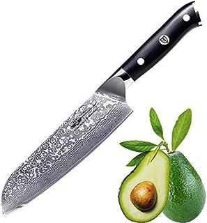 Kitchen Emperor Cuchillo Santoku Damasco, Cuchillo Acero Damasco, Cuchillos de Cocina Profesionales, Prima 67 Capas de Acero