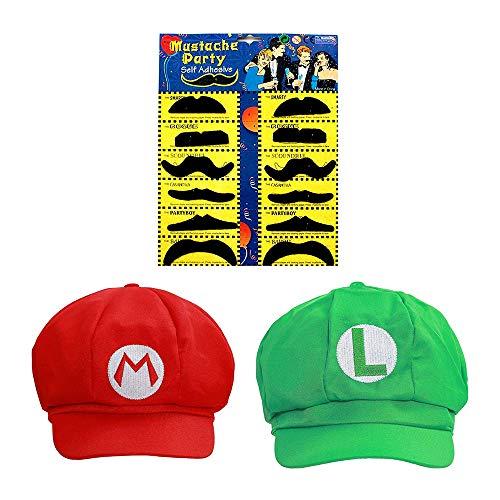 Joyingle Super Mario Bros Luigi Adult Hat Cap Costume Cosplay Halloween Baseball Anime Unisex Role Play Hat (Red And Green)2Pcs