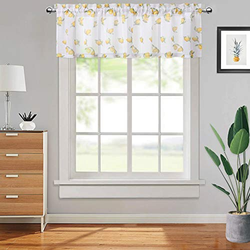 CAROMIO Printed Yellow Lemon Valance Rod Pocket Half Window Treatments Cafe Curtains for Farmhouse Kitchen Living Room (1-Pack, 54 Inch Wide x 15 Inch Long)