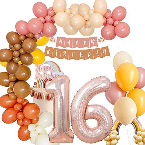 MMTX 16 Cumpleaños Ballon Decoración, 40 inch Gigante Numeros 16 Champán Foil Ballon, Globo Digital Láser, Boho Happy Birthday Banner, Largo Latex Ballons, Globo Helio Birthday Decoración