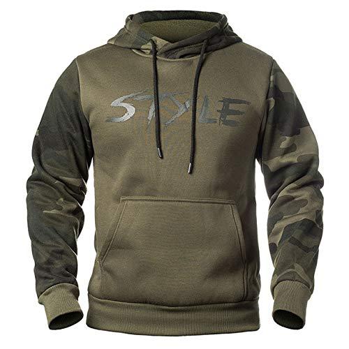 HNOSD Herren Langarm Hoodie Sweatshirt Camouflage Hut Lässig Herren Fleece Hoodies Masculino Hoody Männlich Pullover Kleidung WY14 Army Green XL