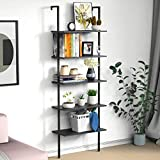 Ladder Shelf Bookshelf, 5 Tier Wall-Mounted Industrial Ladder Bookcase Wood Look Plant Flo...