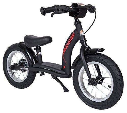 BIKESTAR Kinder Laufrad Lauflernrad Kinderrad für Jungen und Mädchen ab 3 - 4 Jahre   12 Zoll Classic Kinderlaufrad   Schwarz (matt)   Risikofrei Testen